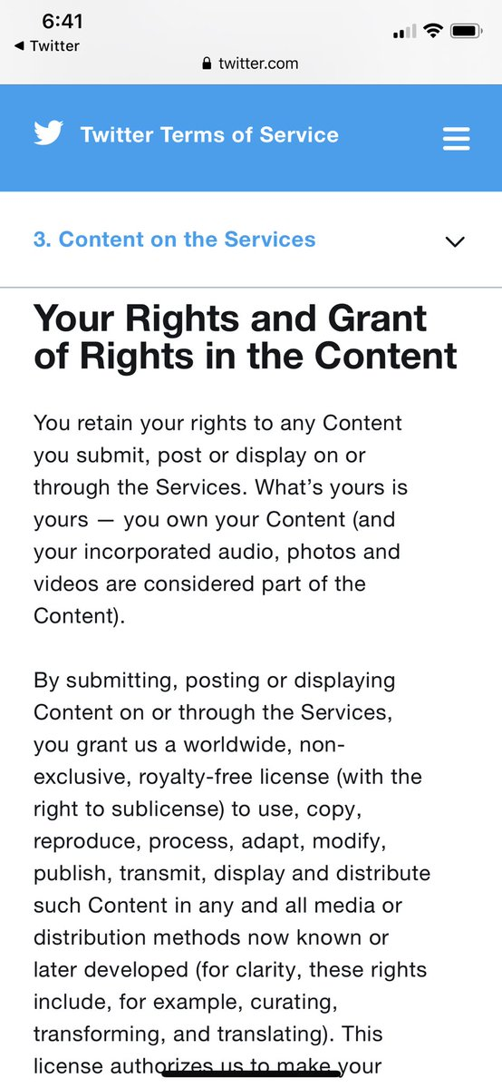 EK3caBDXsAQAm o - Creatives, please take a moment and read Twitters new TOS. In the TOS, they explicitly state that whatever you post, grants Twitter non-exclusive, royalty-free license to use your content.