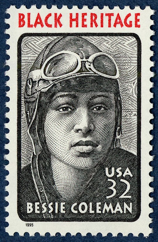 ELc7km3VAAEsKBz 1 - Bessie Coleman learned French so that she could earn her pilot license in France because American women, especially African Americans, could not get them in the U.S. Our BecauseOfHerStory is a great source of history and inspiration. Stamp from click to see email