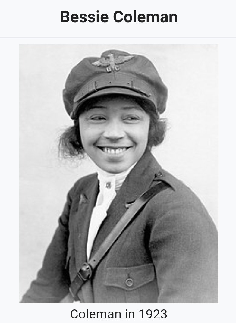 ELmhGldXsAAFWtC - In 1921 Bessie Coleman became the first African American woman in the United States to earn a pilots license, then barnstormed around the country thrilling audiences and inspiring later generations.WomensHistory BlackHistory ThursdayThoughts