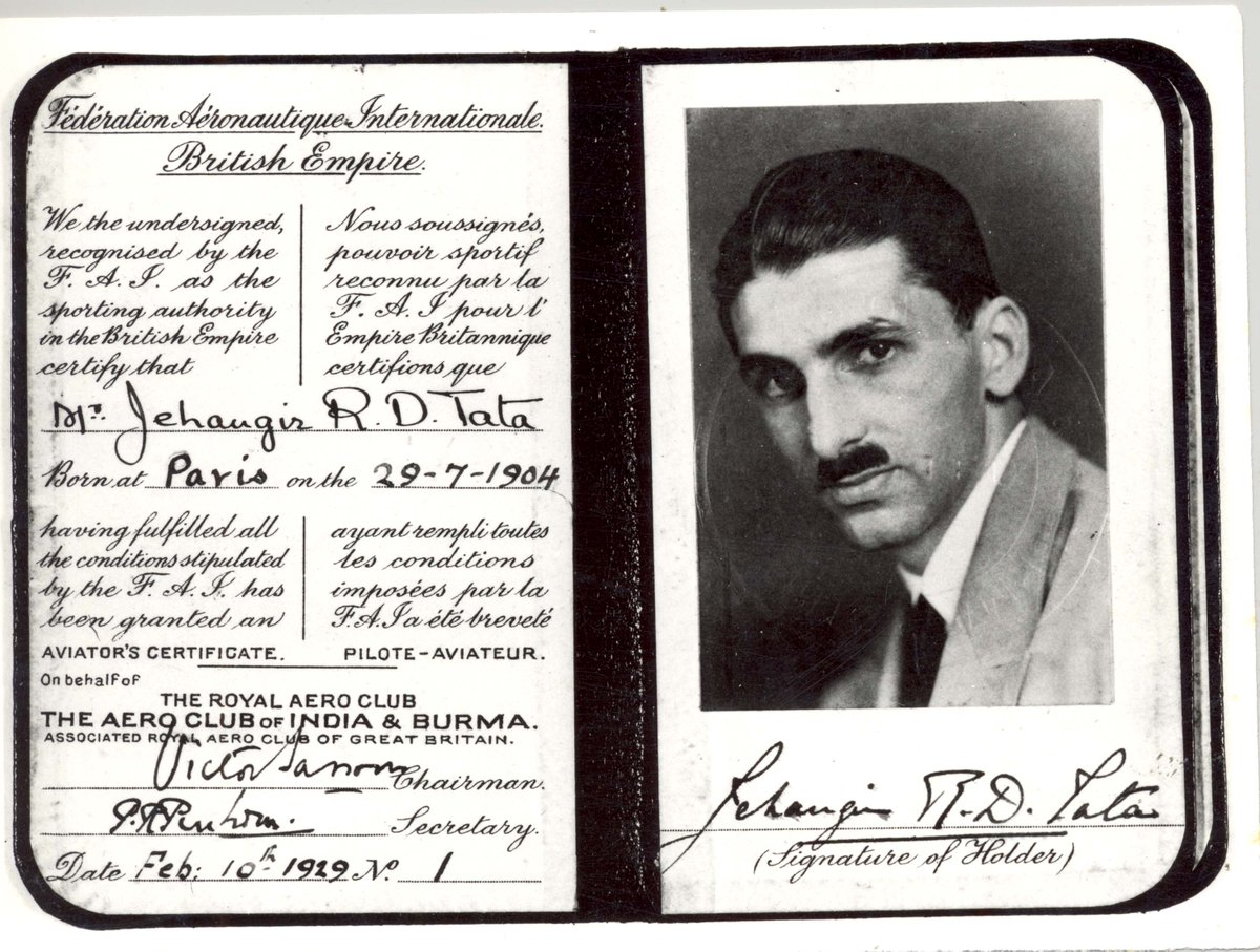 CK7DOIiWoAAn9P1 - DidYouKnow JRD Tata was the first pilot to have qualified in India with No. 1 on his flying license JRDTata