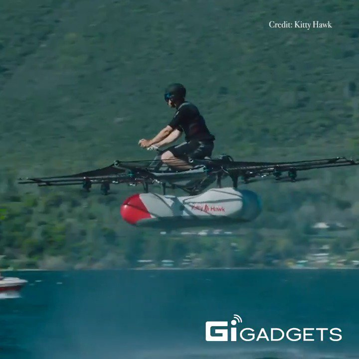 D6qdmeQUwAE Mdp - Kitty Hawk Flyer is a street legal electric hover-bike that doesnt require a pilot license to fly.The company recently revealed an update to its 2017 prototype. It can travel at 10 feet at 20 mph, and fly for 12-20 minutes per flight.flyingcars aircraft jet tech drone