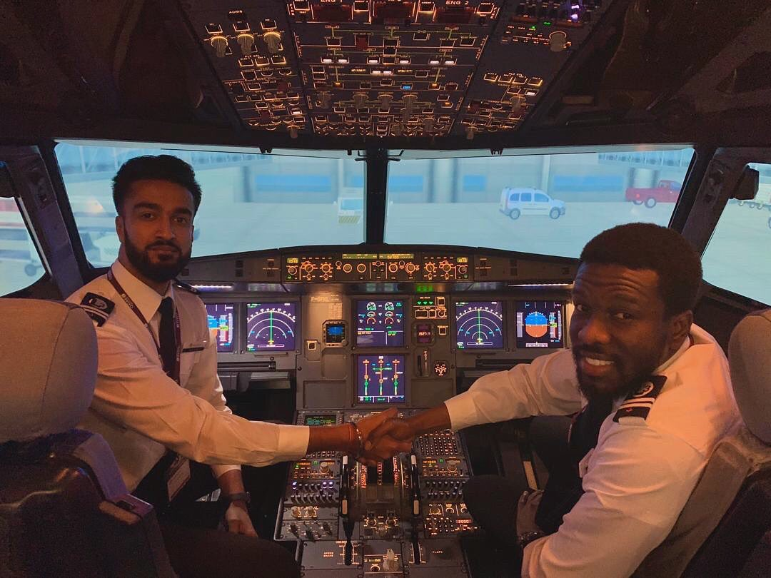 EIHC mDX0AAqS   - Not late to celebrate one of our own. Perscoba Bismarck Antwi-Danso for completing his license skill test amp officially being certified as an A320 pilot. We are proud of you Perscoba. All the best. IamPerscoba Achievements