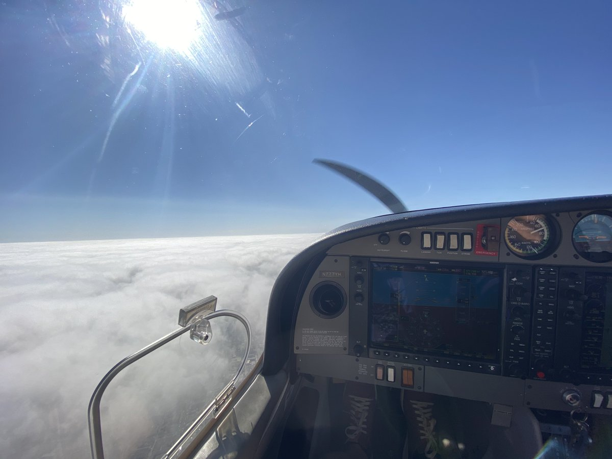 EJCsaMJUcAAscK  - Working on my private pilot license. Got to fly VFR on top today and saw some pretty cool cloud cover over LA. Love it.