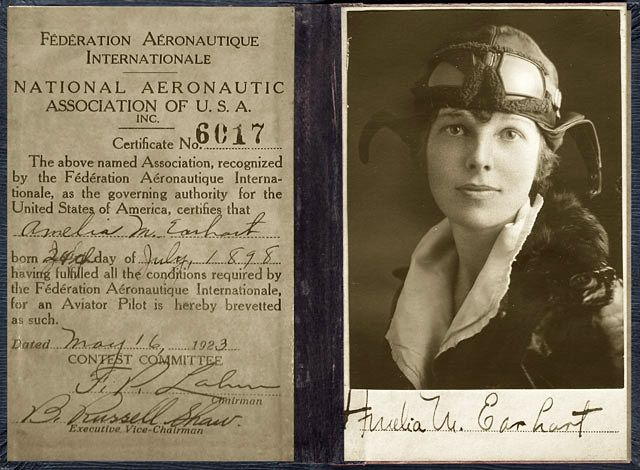ENhaclMXUAEBm8N 1 - Earhart was the 16th woman to be issued a pilots license. She was instrumental in the formation of The Ninety-Nines, an organization for female pilots.